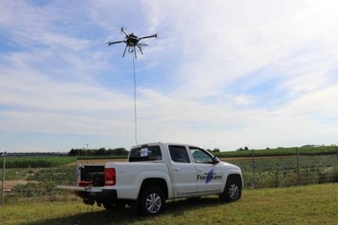 Tethered COL-X8 drone  operated from a pick-up